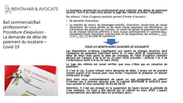 Bail commercial/Bail professionnel – La demande de délai de paiement du locataire – Covid-19