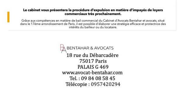 Bail commercial – Clause résolutoire – Non- paiement des loyers – Expulsion – Paris